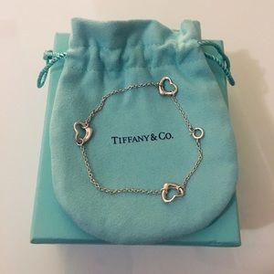 Tiffany Silver Elsa Peretti Open Heart Bracelet